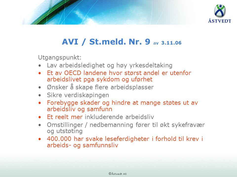 AVI / St.meld. Nr. 9 av 3.11.06 Utgangspunkt: