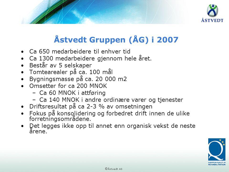 Åstvedt Gruppen (ÅG) i 2007 Ca 650 medarbeidere til enhver tid