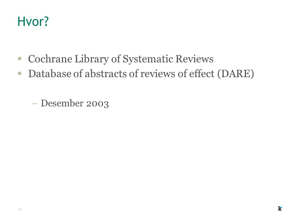 Hvor Cochrane Library of Systematic Reviews