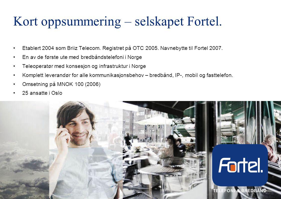 Kort oppsummering – selskapet Fortel.