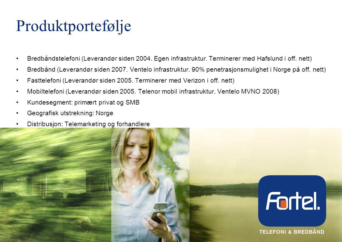 Produktportefølje Bredbåndstelefoni (Leverandør siden 2004. Egen infrastruktur. Terminerer med Hafslund i off. nett)