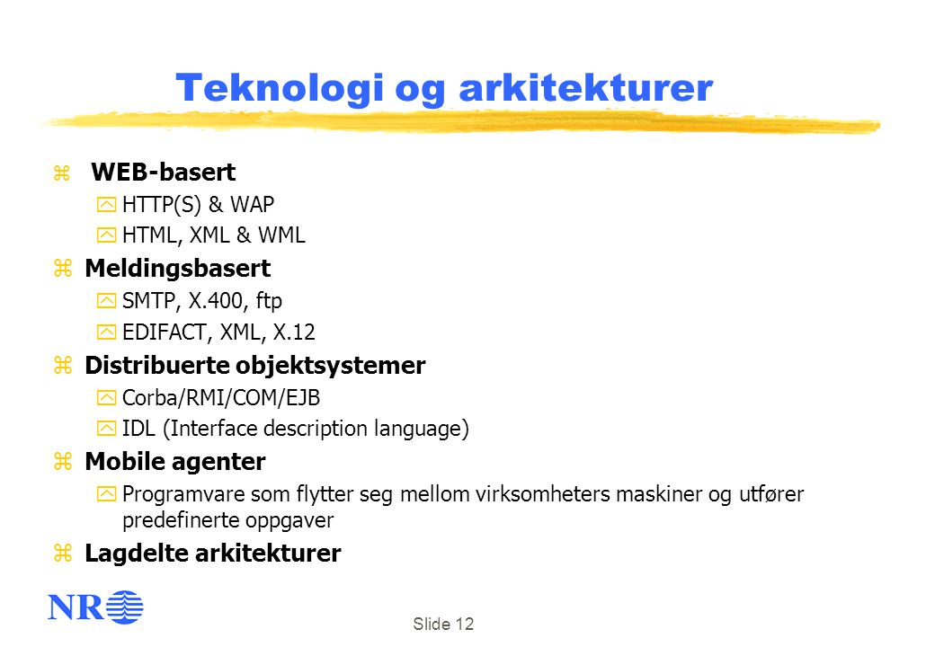 Teknologi og arkitekturer