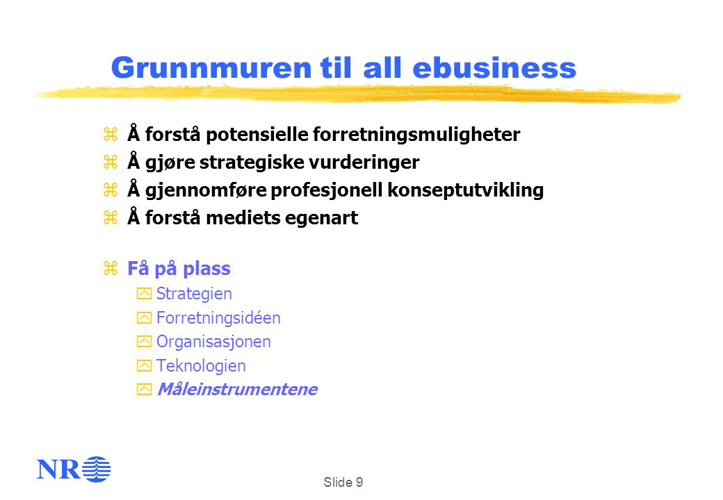 Grunnmuren til all ebusiness