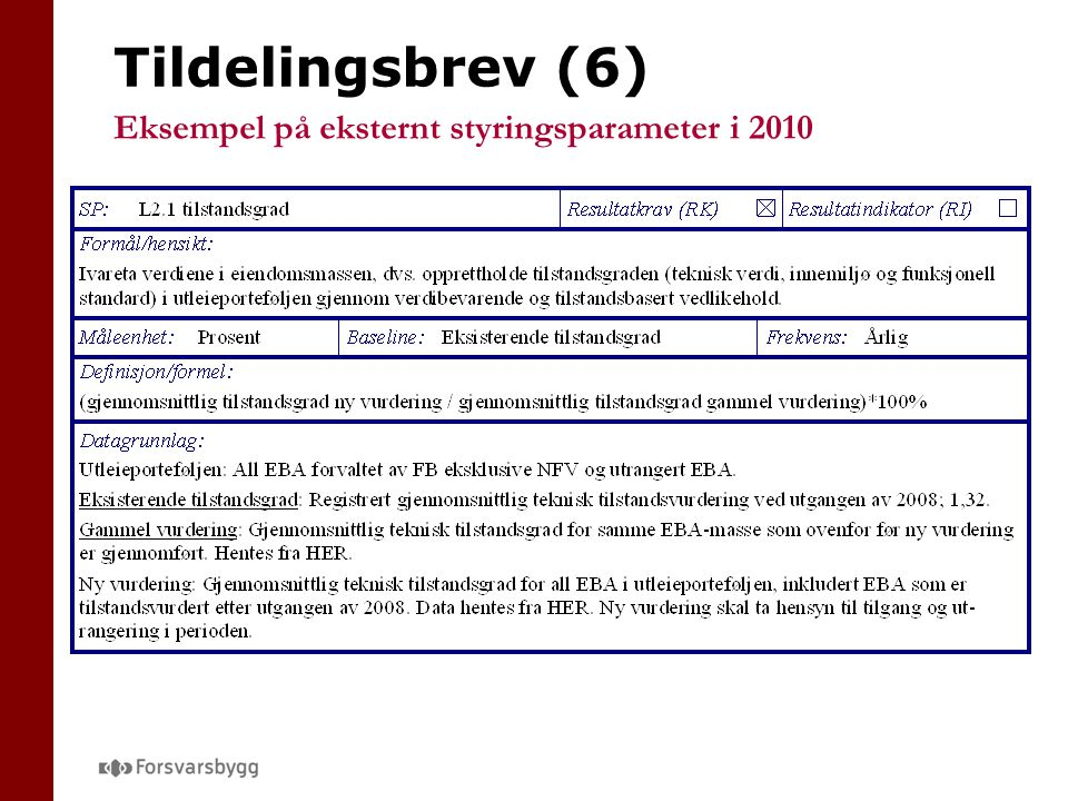 Tildelingsbrev (6) Eksempel på eksternt styringsparameter i 2010