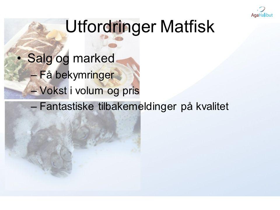 Utfordringer Matfisk Salg og marked Få bekymringer