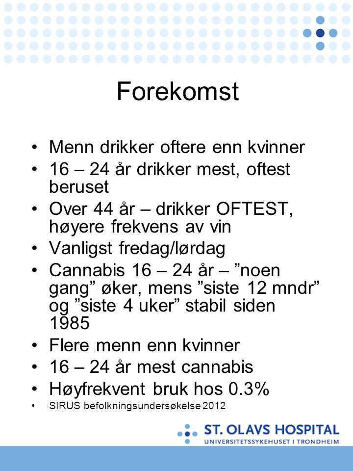 Forekomst Menn drikker oftere enn kvinner