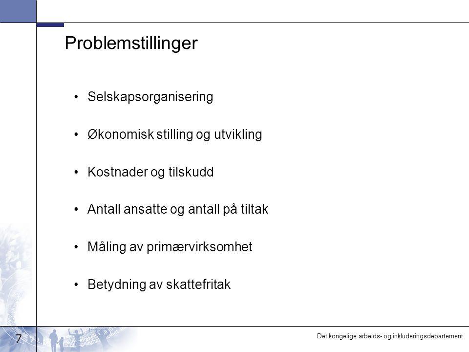 Problemstillinger Selskapsorganisering Økonomisk stilling og utvikling