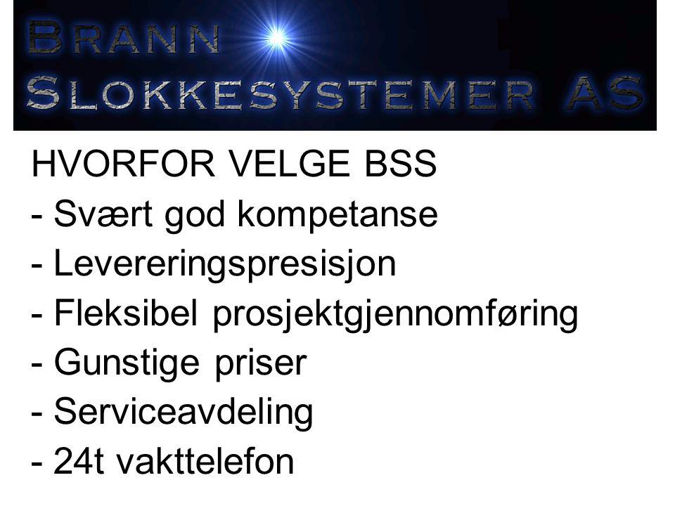HVORFOR VELGE BSS - Svært god kompetanse. - Levereringspresisjon. - Fleksibel prosjektgjennomføring.