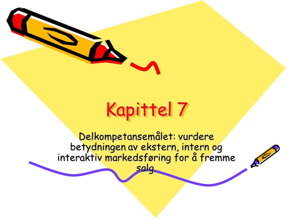 Kapittel 7 Delkompetansemålet: vurdere betydningen av ekstern, intern og interaktiv markedsføring for å fremme salg.