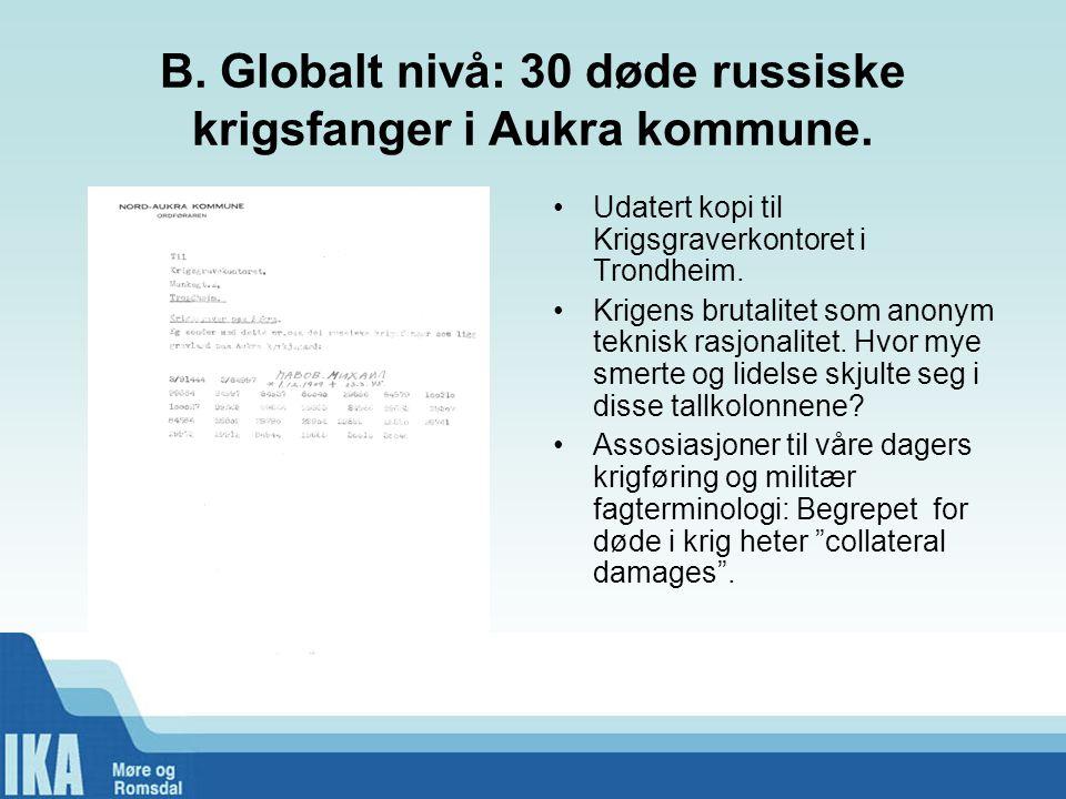 B. Globalt nivå: 30 døde russiske krigsfanger i Aukra kommune.
