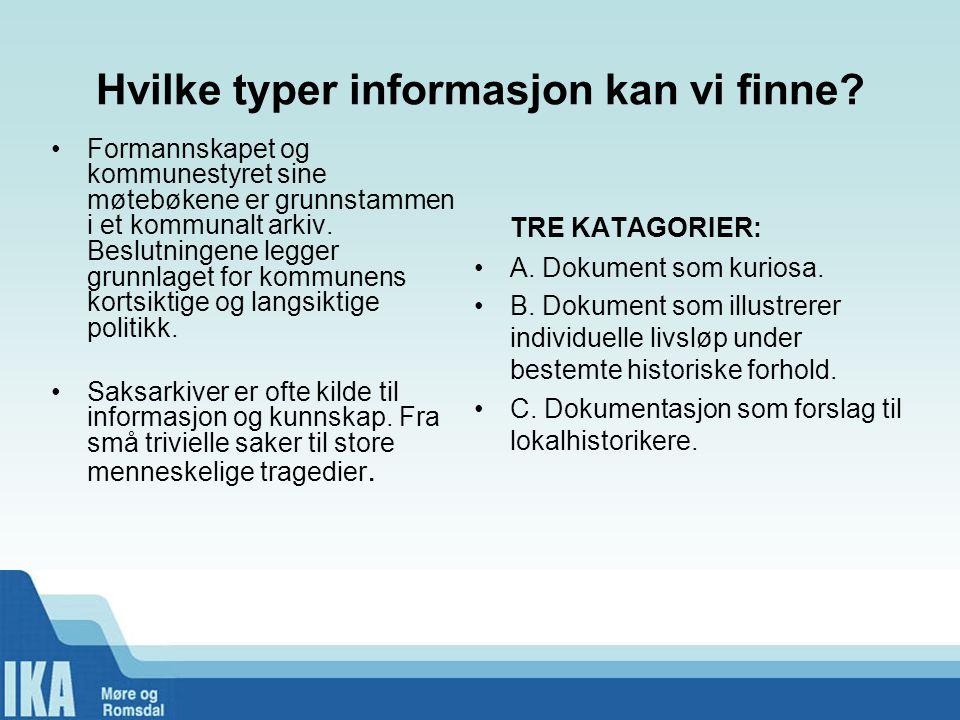 Hvilke typer informasjon kan vi finne