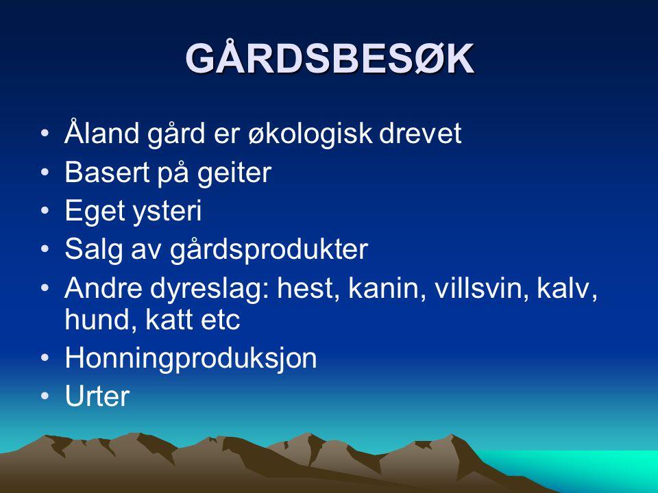 GÅRDSBESØK Åland gård er økologisk drevet Basert på geiter Eget ysteri