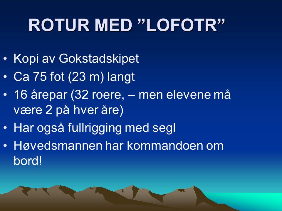 ROTUR MED LOFOTR Kopi av Gokstadskipet Ca 75 fot (23 m) langt