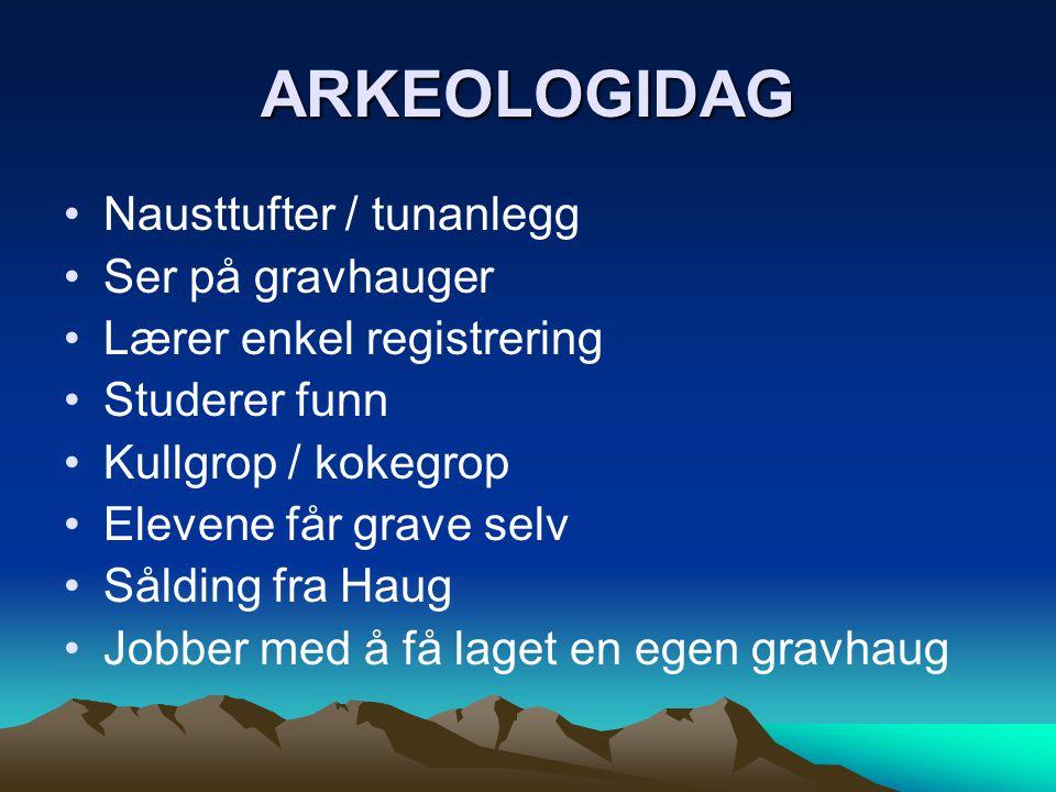 ARKEOLOGIDAG Nausttufter / tunanlegg Ser på gravhauger
