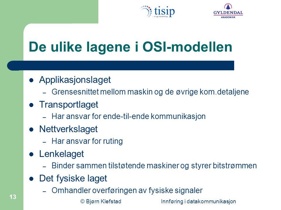 De ulike lagene i OSI-modellen
