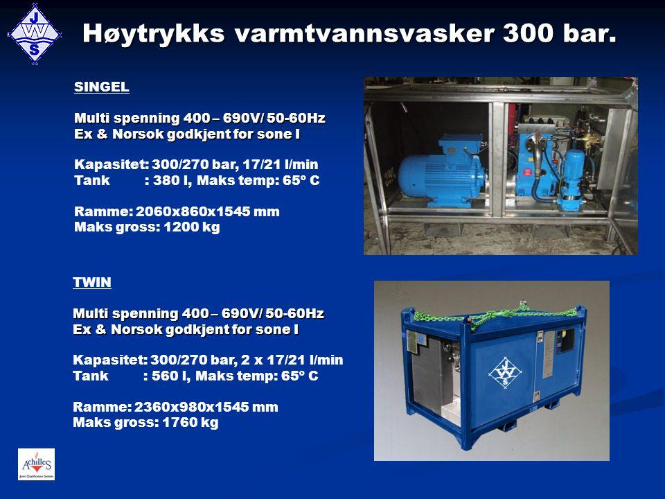 Høytrykks varmtvannsvasker 300 bar.