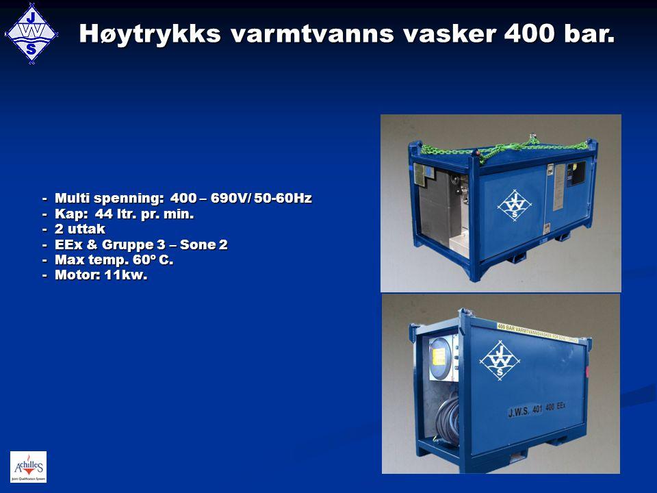 Høytrykks varmtvanns vasker 400 bar.