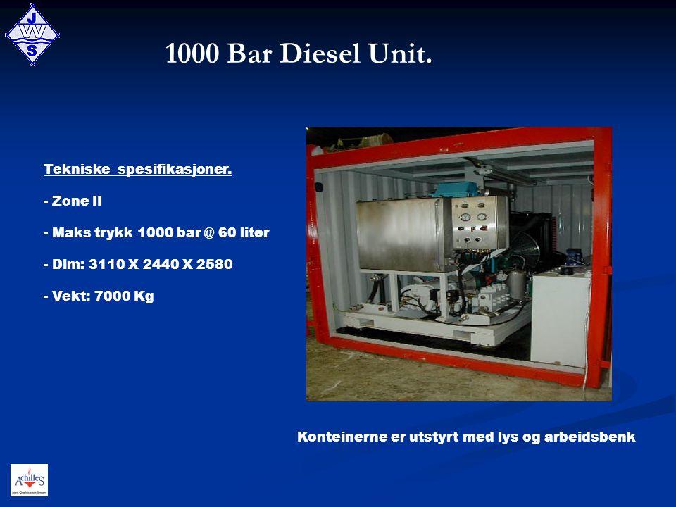 1000 Bar Diesel Unit. Tekniske spesifikasjoner. Zone II