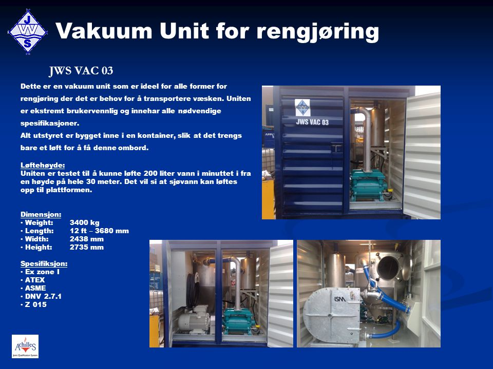 Vakuum Unit for rengjøring