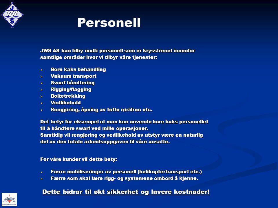 Personell Dette bidrar til økt sikkerhet og lavere kostnader!