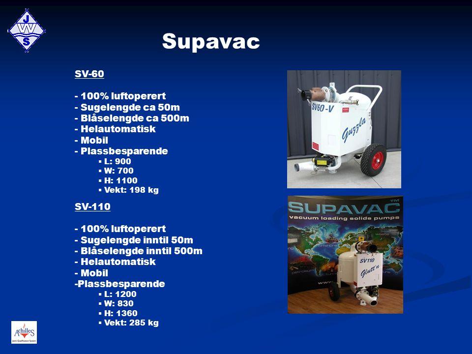 Supavac SV-60 100% luftoperert - Sugelengde ca 50m Blåselengde ca 500m