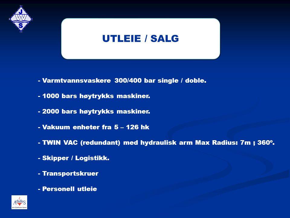 UTLEIE / SALG - Varmtvannsvaskere 300/400 bar single / doble.