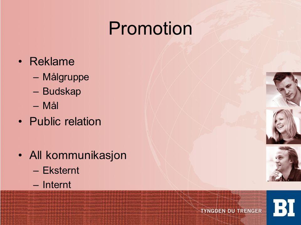 Promotion Reklame Public relation All kommunikasjon Målgruppe Budskap