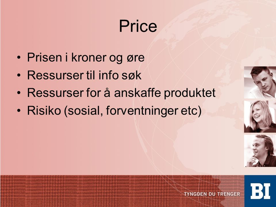Price Prisen i kroner og øre Ressurser til info søk
