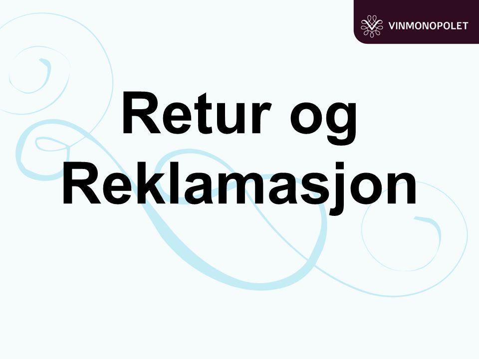 Retur og Reklamasjon Retur og reklamasjon: Husk å fylle returlageret før demo. Returordre: Retur av varer til leverandør med krav om kreditt.