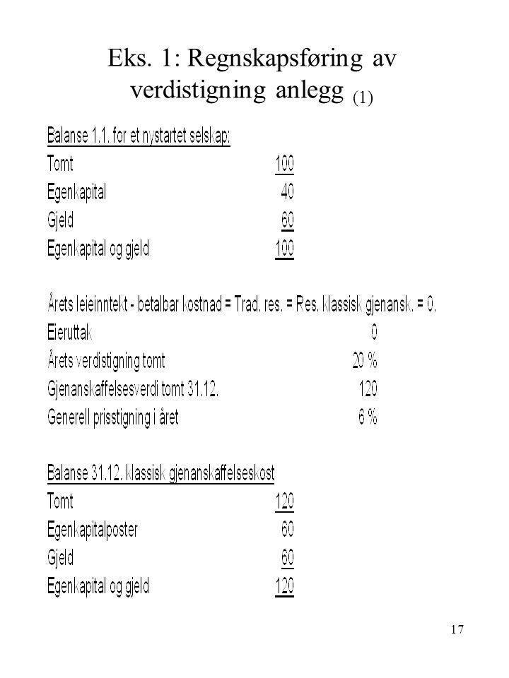 Eks. 1: Regnskapsføring av verdistigning anlegg (1)