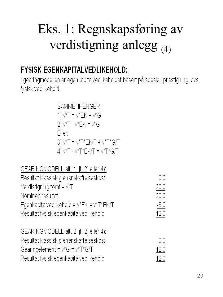Eks. 1: Regnskapsføring av verdistigning anlegg (4)