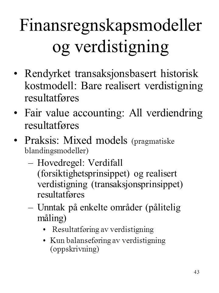 Finansregnskapsmodeller og verdistigning