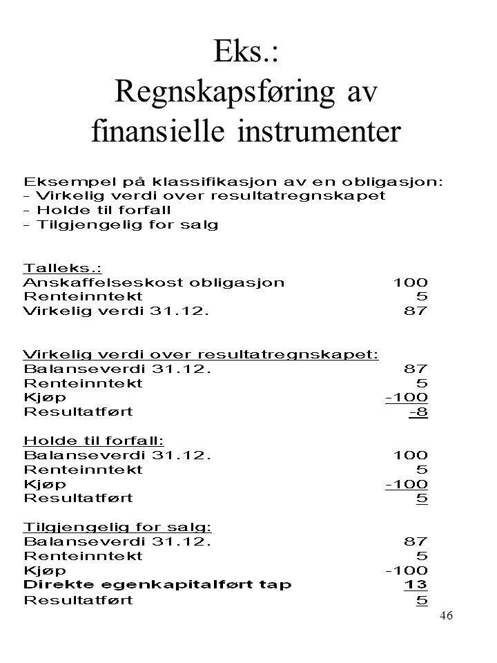 Eks.: Regnskapsføring av finansielle instrumenter