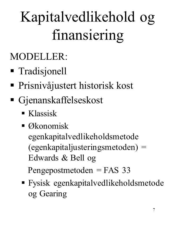 Kapitalvedlikehold og finansiering