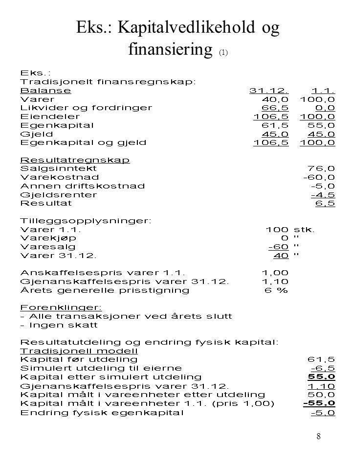 Eks.: Kapitalvedlikehold og finansiering (1)