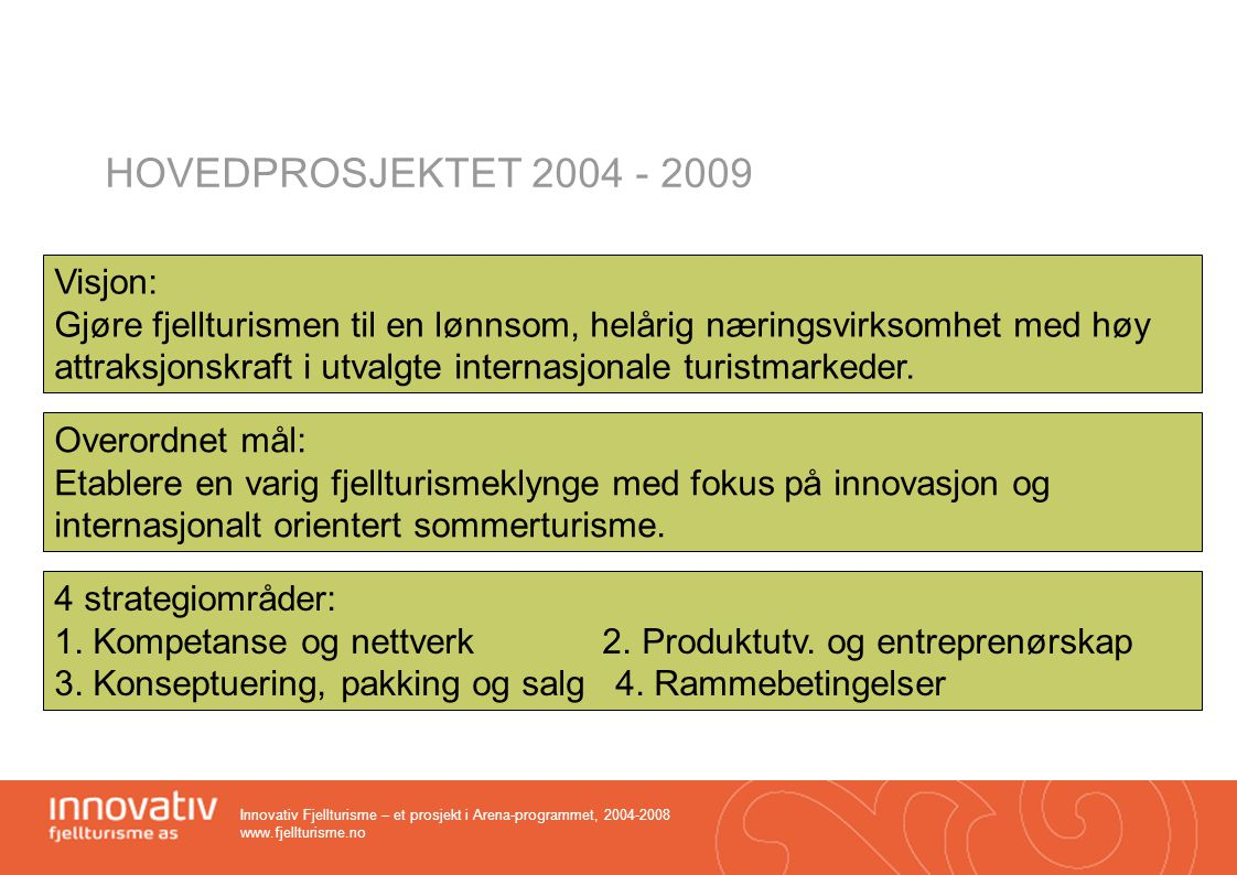 HOVEDPROSJEKTET 2004 - 2009 Visjon: