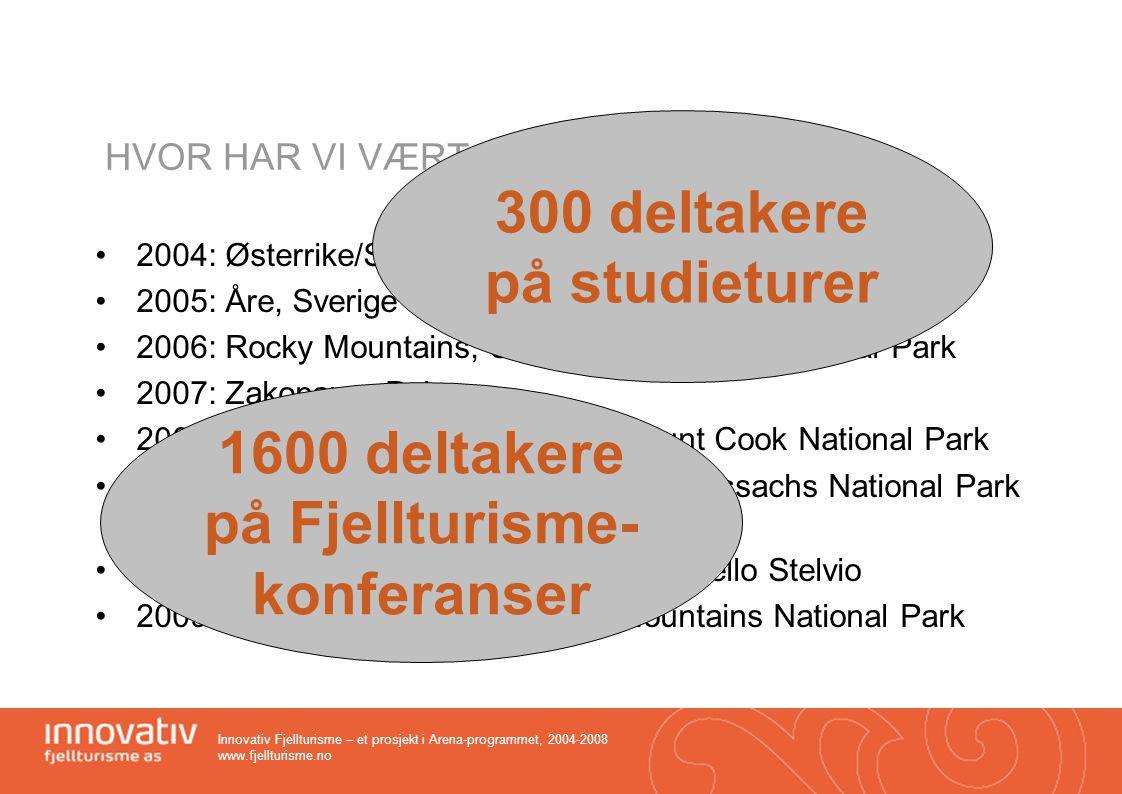 300 deltakere på studieturer 1600 deltakere på Fjellturisme-