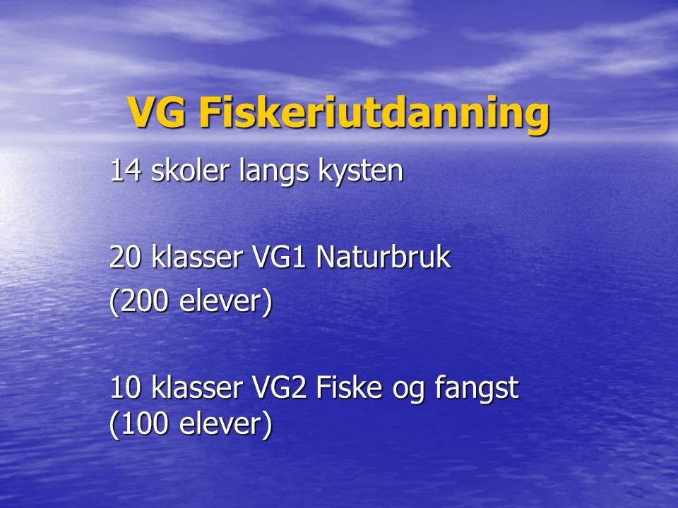 VG Fiskeriutdanning 14 skoler langs kysten 20 klasser VG1 Naturbruk