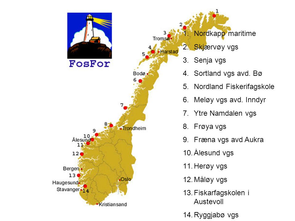 Nordkapp maritime Skjærvøy vgs. Senja vgs. Sortland vgs avd. Bø. Nordland Fiskerifagskole. Meløy vgs avd. Inndyr.