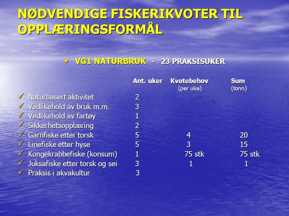 NØDVENDIGE FISKERIKVOTER TIL OPPLÆRINGSFORMÅL