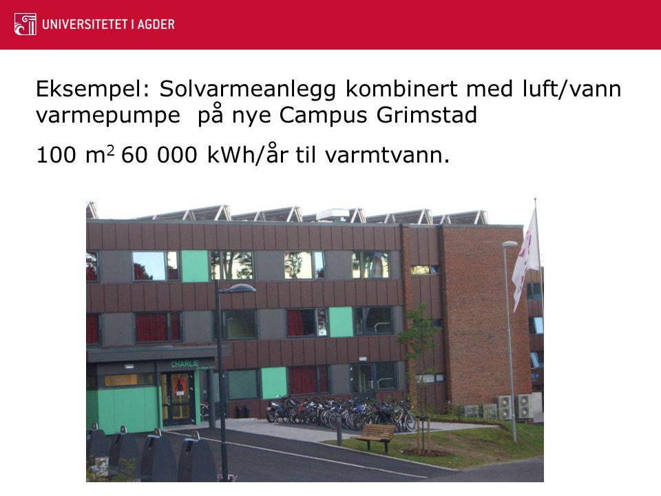 Eksempel: Solvarmeanlegg kombinert med luft/vann varmepumpe på nye Campus Grimstad