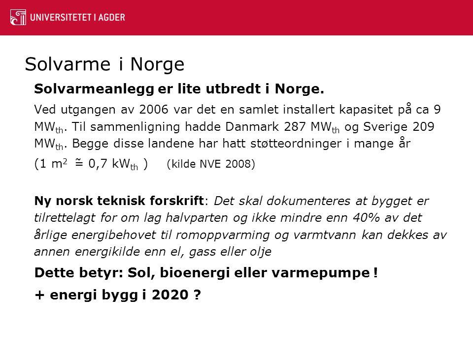 Solvarme i Norge + energi bygg i 2020