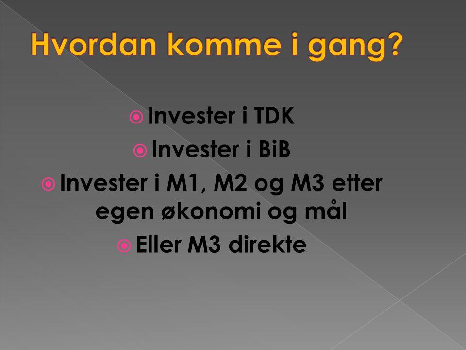 Invester i M1, M2 og M3 etter egen økonomi og mål