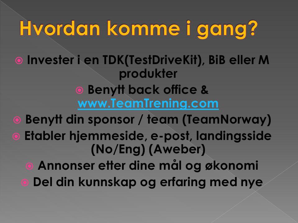 Hvordan komme i gang Invester i en TDK(TestDriveKit), BiB eller M produkter. Benytt back office & www.TeamTrening.com.