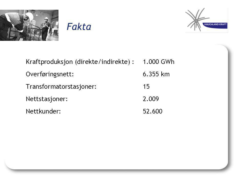 Fakta Kraftproduksjon (direkte/indirekte) : 1.000 GWh
