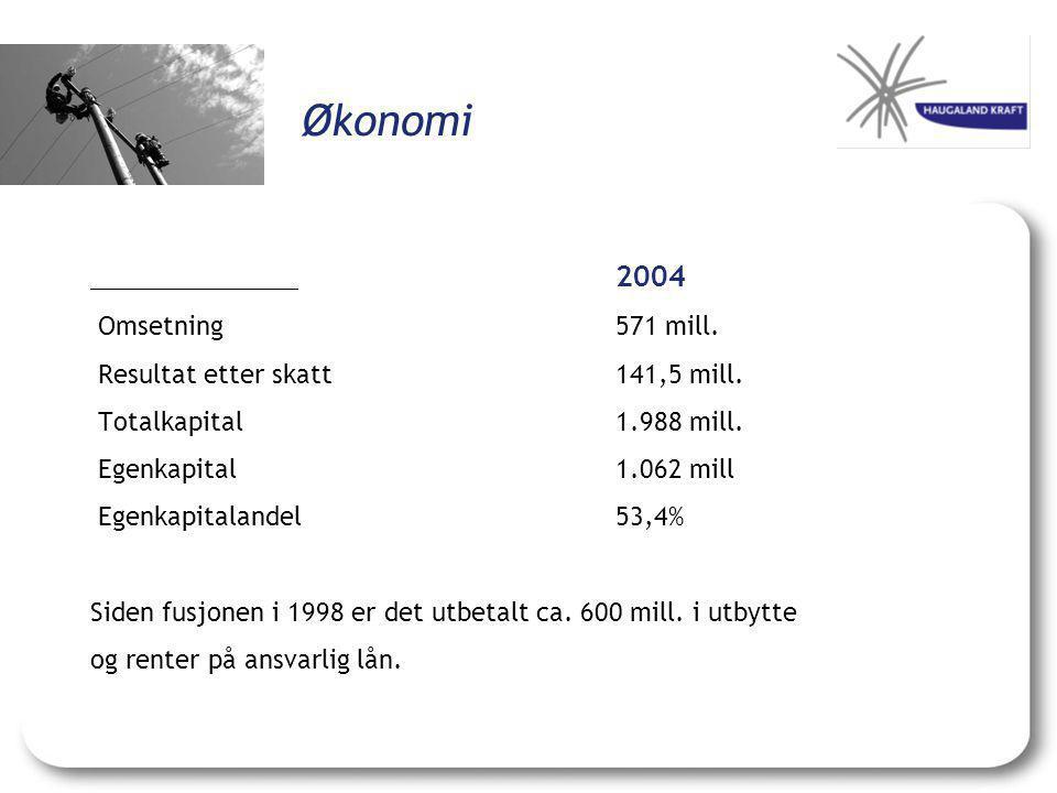 Økonomi Omsetning 571 mill. Resultat etter skatt 141,5 mill.