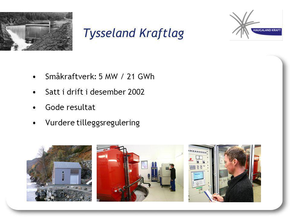 Tysseland Kraftlag Småkraftverk: 5 MW / 21 GWh