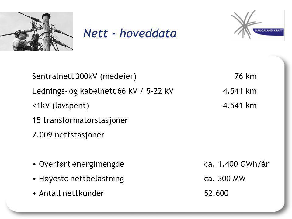 Nett - hoveddata Sentralnett 300kV (medeier) 76 km