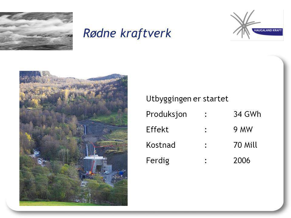 Rødne kraftverk Utbyggingen er startet Produksjon : 34 GWh