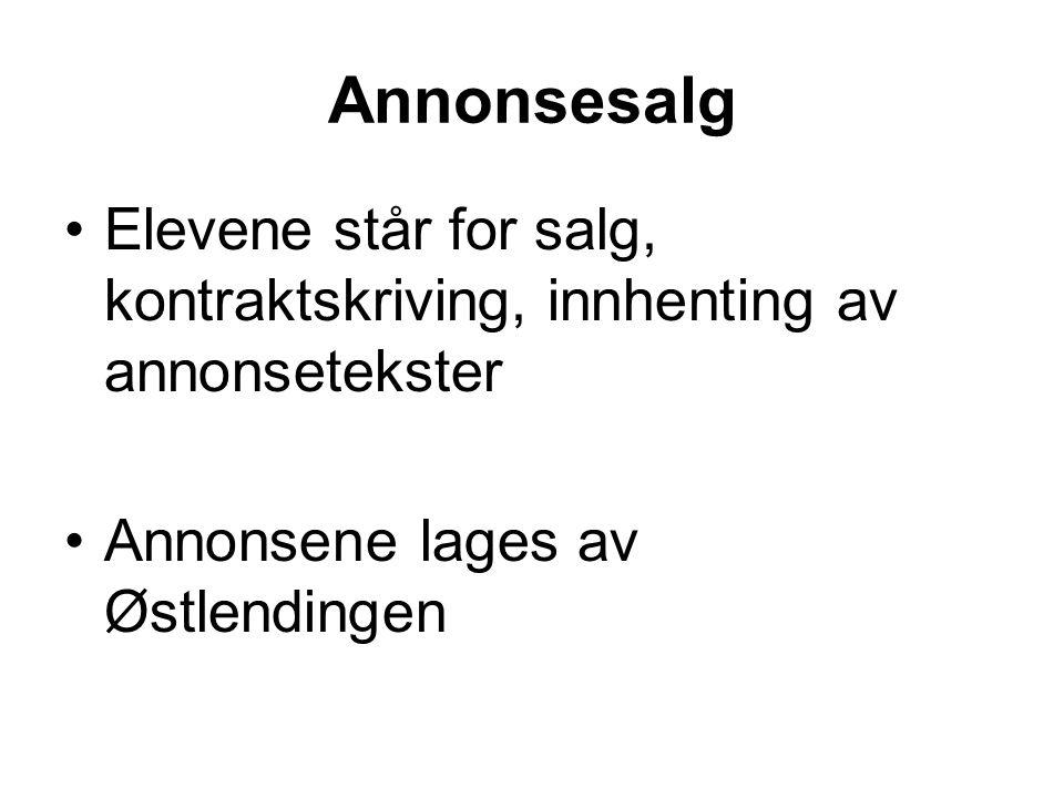 Annonsesalg Elevene står for salg, kontraktskriving, innhenting av annonsetekster.